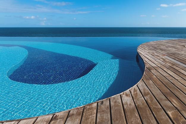 Piscina infinita com vista para o mar e céu azul