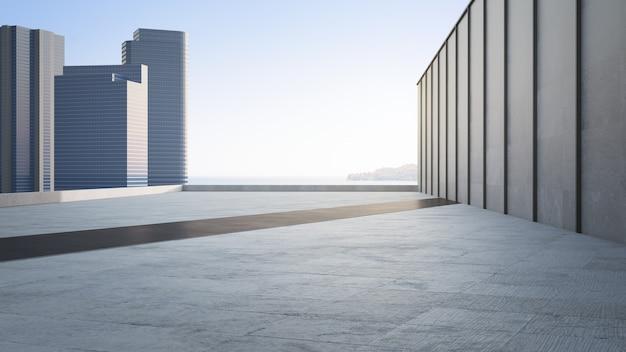 Piso de concreto vazio e parede cinza. renderização 3d da praça com vista para o mar com fundo de céu claro.