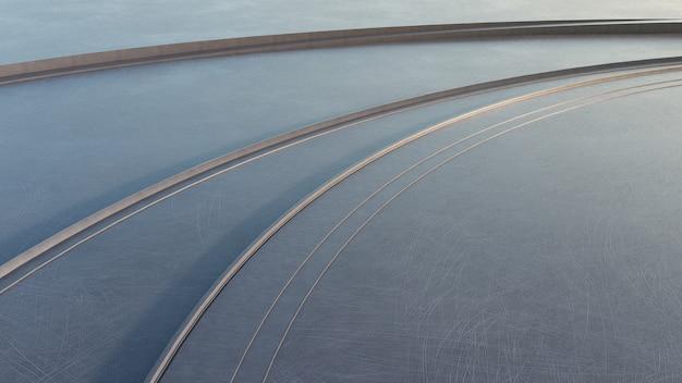 Piso de concreto vazio no parque da cidade. rendição da opinião de ângulo alto 3d do espaço ao ar livre com detalhe arquitetónico moderno.