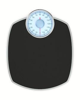 Piso de escala de peso em fundo branco. ilustração 3d isolada