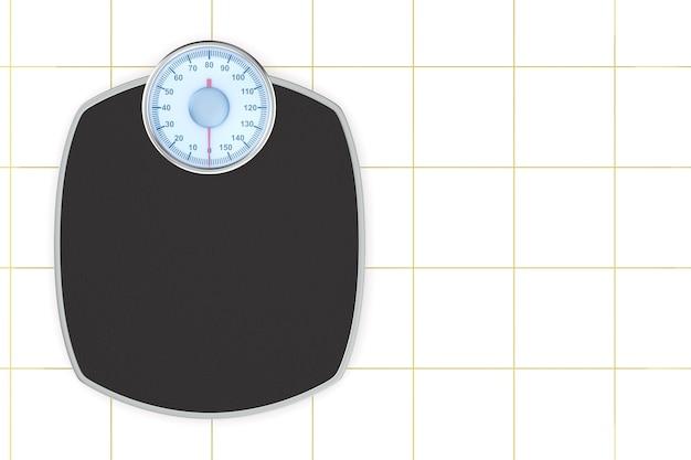 Piso de escala de peso em fundo de azulejo. ilustração 3d isolada