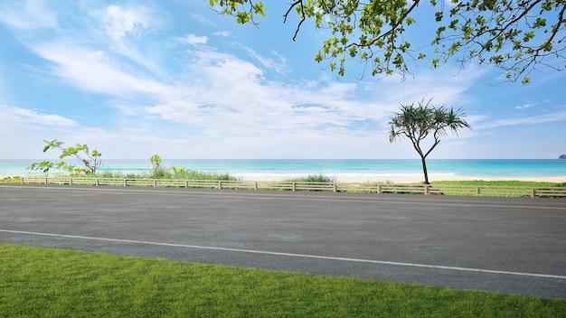 Piso de estrada asfaltada e grande jardim com vista para o mar ilustração 3d de gramado verde vazio