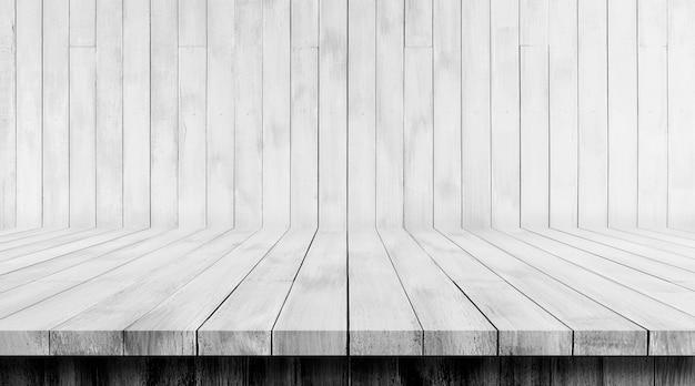 Piso de madeira branca e fundos de madeira da parede, pano de fundo, uso para exibir o produto.