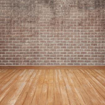 Piso de madeira com parede de tijolo