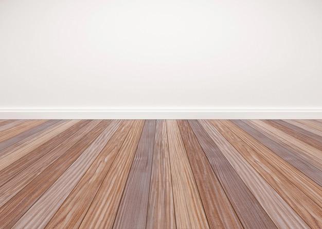 Piso de madeira de carvalho com parede branca