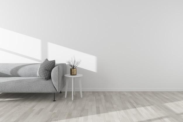 Piso de madeira interior branco com sofá mínimo, mesa lateral, vaso e luz do sol. estilo escandinavo