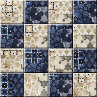 Piso de mármore com padrão floral e azulejos de parede. ladrilho cerâmico em porcelana. elemento para design de interiores, textura de fundo.