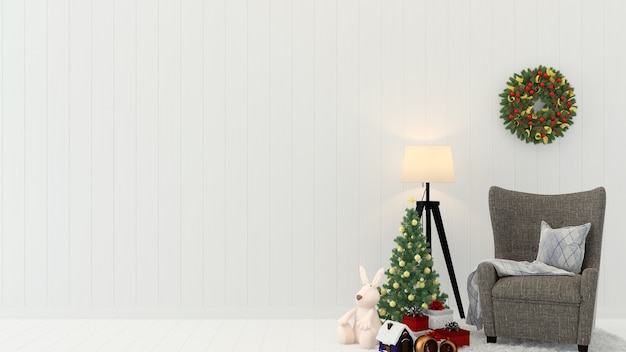 Piso de parede de madeira de natal modelo de árvore fundo decoração 3d interior