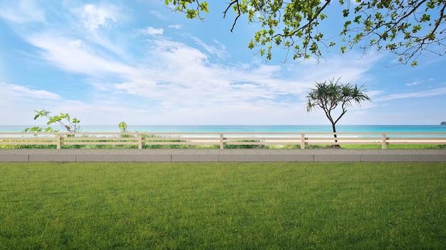 Piso do caminho de paralelepípedos e grande jardim com vista para o mar ilustração 3d do gramado verde vazio