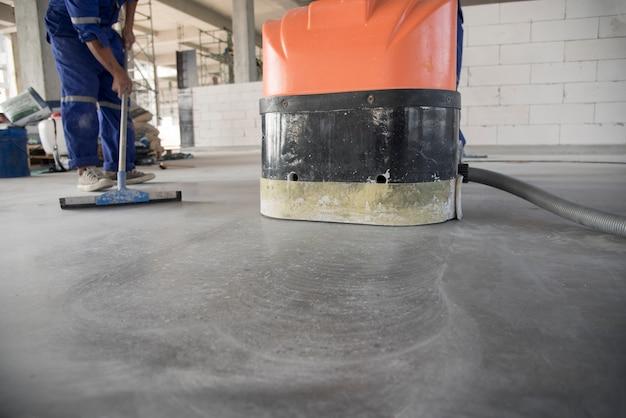 Piso epóxi em fábrica de armazém japão canteiro de obras, polimento de concreto de pedra