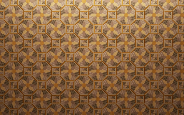Piso exótico de várias madeiras. superfície geométrica feita de tábuas.