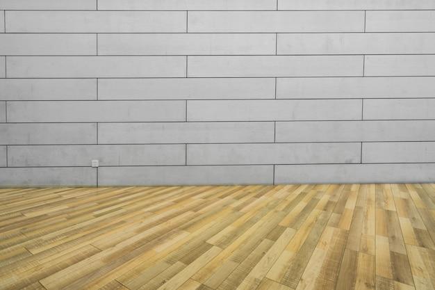Pisos de madeira vazios e paredes de cimento, fundo interior