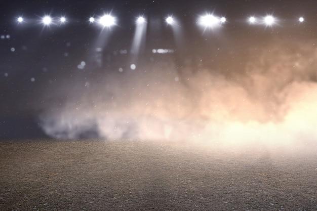 Pista de corrida com fumaça e holofotes