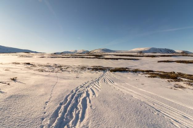 Pistas de esqui na paisagem montanhosa noruega parque nacional dovre