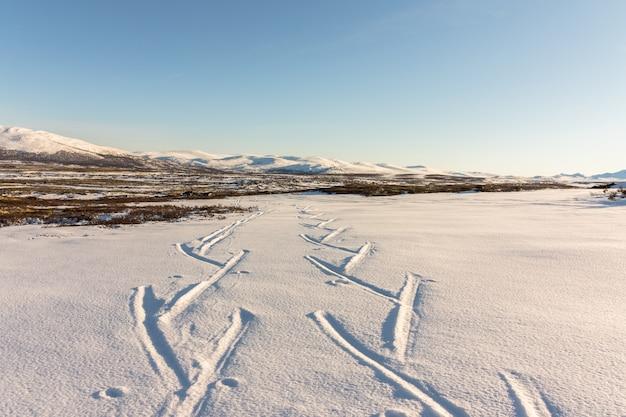 Pistas de esqui nas montanhas de inverno em dovre, noruega.
