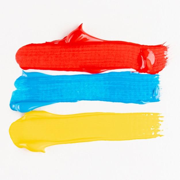 Pistas de tinta azul, vermelha e amarela