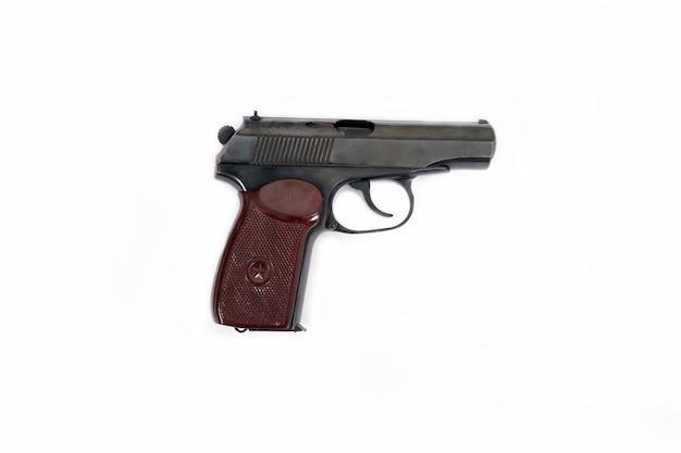 Pistola makarov balas clipe alça conjunto branco isolado marrom preto estrela velhos soviéticos