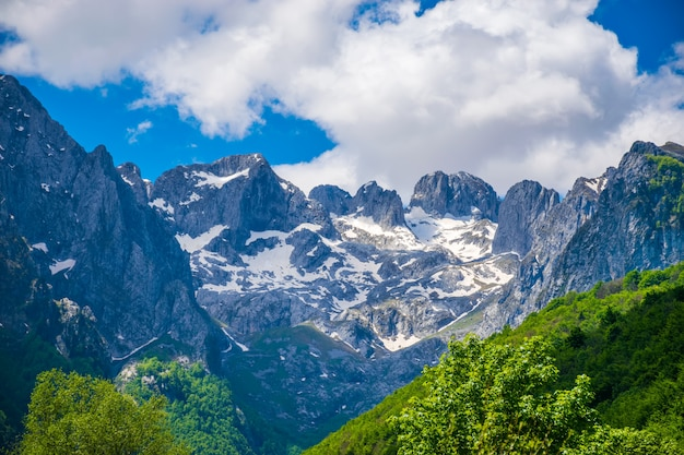 Pitorescos picos nevados das montanhas altas.