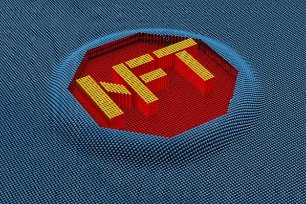 Pixel art style nft. renderização 3d