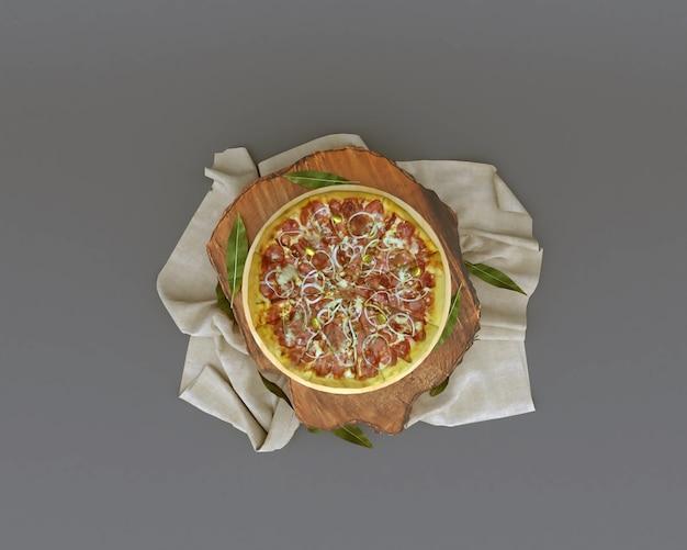 Pizza com renderização 3d em um tronco de mesa