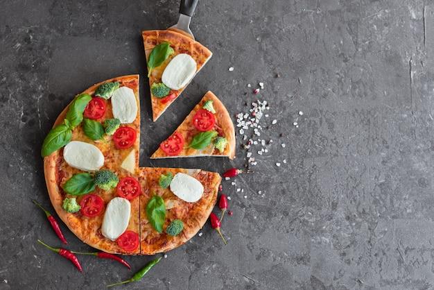 Pizza, comida, vegetais, cogumelos.