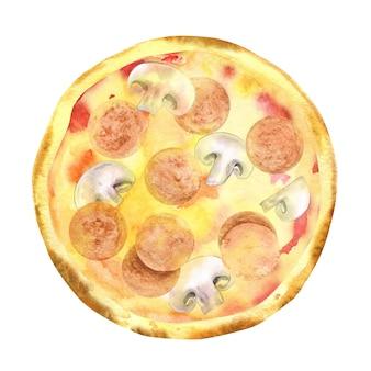 Pizza de calabresa artesanal em aquarela com cogumelos