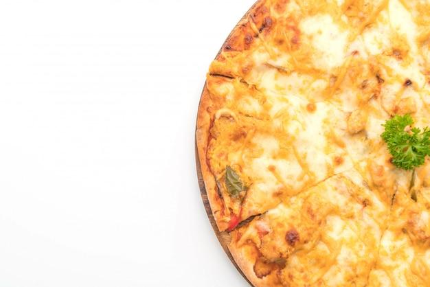 Pizza de frango grelhado com molho de mil ilhas