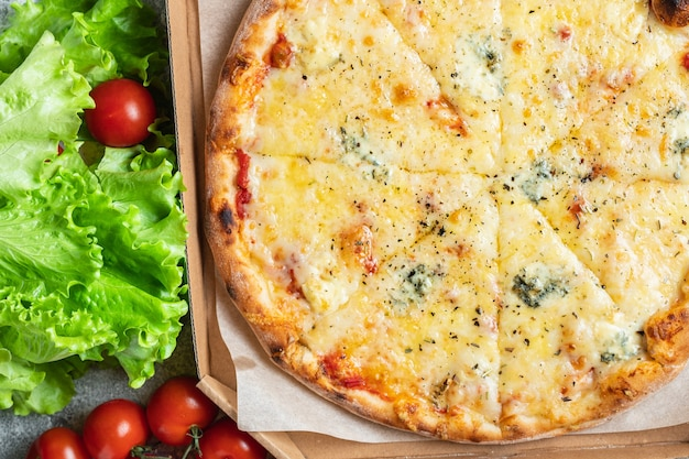 Pizza de queijo 4 queijos sortidos vários tipos fast food
