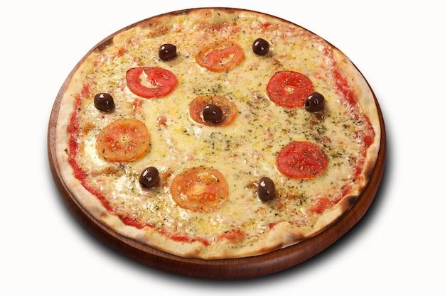 Pizza de queijo com tradicional molho de tomate e calabresa