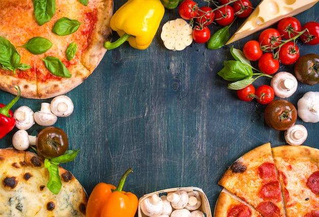 Pizza e ingredientes fundo