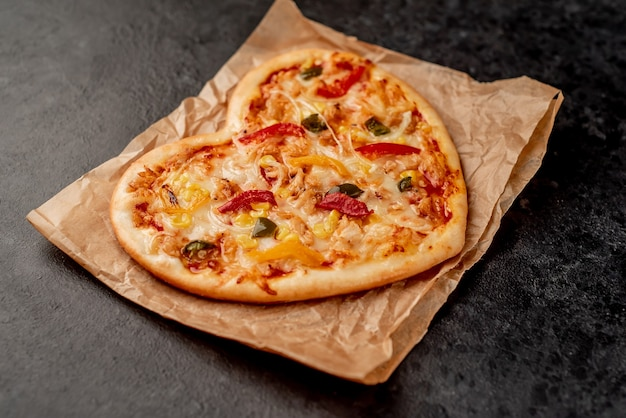 Pizza em forma de coração para o dia dos namorados