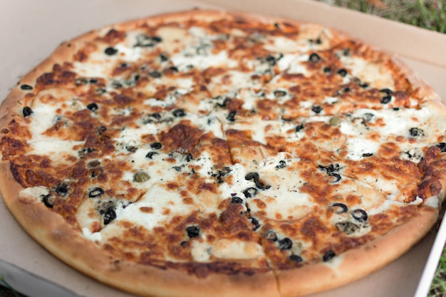Pizza em uma caixa de papelão