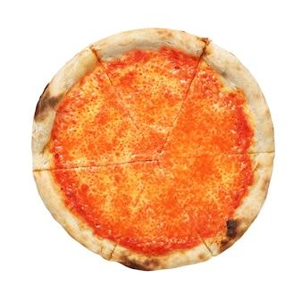Pizza napolitana margherita com tomate e queijo mussarela, isolado no fundo branco.