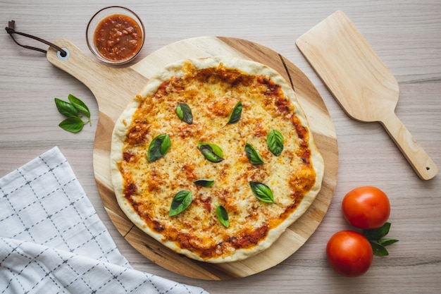 Pizza vegan de queijo cenital