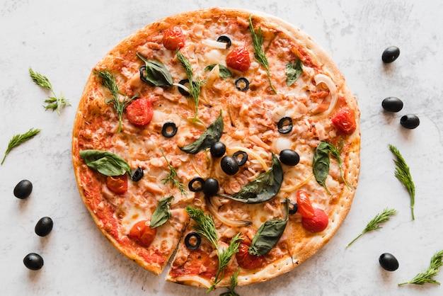 Pizza vista superior