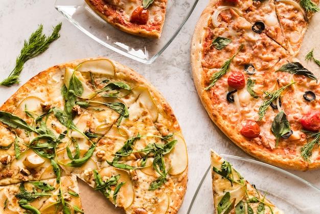 Pizzas vista superior