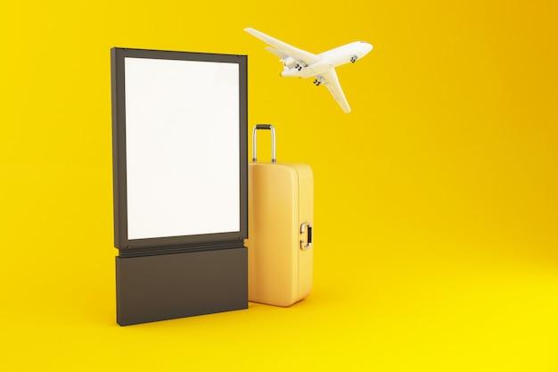 Placa 3d em branco, mala de viagem e avião