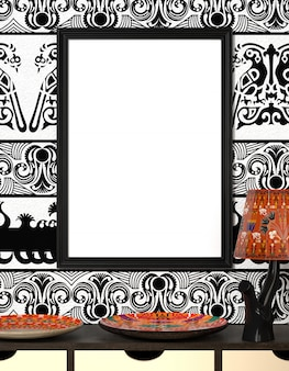 Placa africana brilhante e a lâmpada com ornamento tradicionais. moldura de madeira com tela em branco