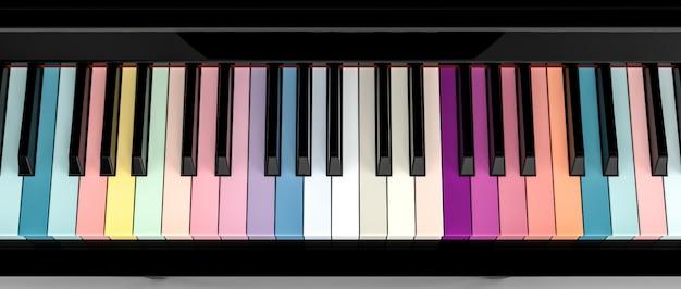 Placa chave de piano colorida