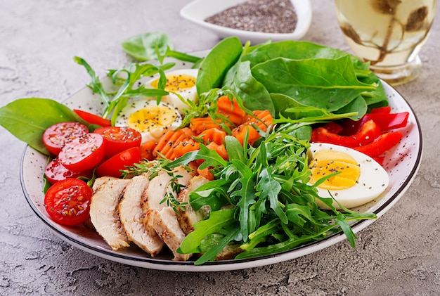 Placa com um alimento de dieta keto. tomate cereja, peito de frango, ovos, cenoura, salada com rúcula e espinafre. almoço keto