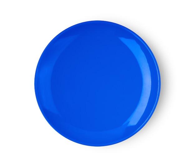 Placa de cerâmica azul isolada na vista superior do fundo branco
