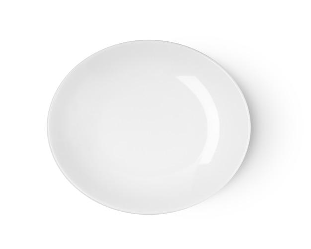 Placa de cerâmica branca isolada na vista superior do fundo branco