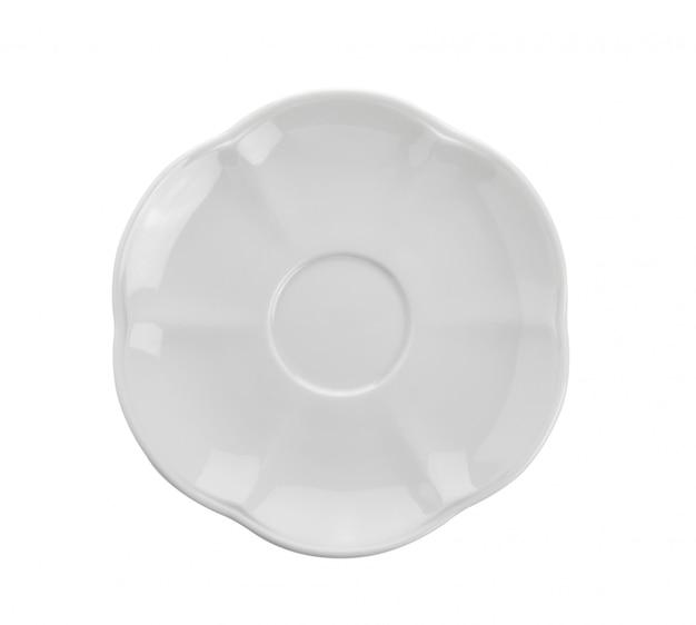 Placa de cerâmica na superfície branca. vista do topo