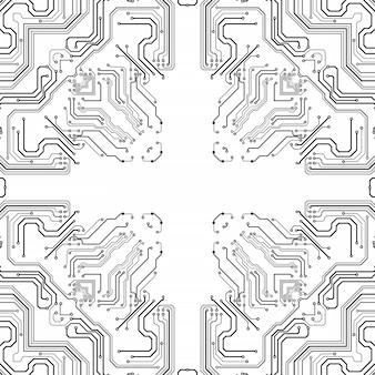 Placa de chip eletrônico. modelo eletrônico de alta tecnologia da placa de circuito impresso, tecnologia digital. chip de computador abstrato da ilustração. microchip monocromático preto, isolado em fundo branco Foto Premium