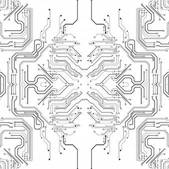 Placa de chip eletrônico. modelo eletrônico de alta tecnologia da placa de circuito impresso, tecnologia digital. chip de computador abstrato da ilustração. microchip monocromático preto, isolado em fundo branco