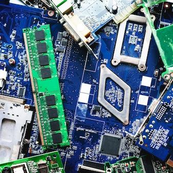 Placa de circuito azul de computador
