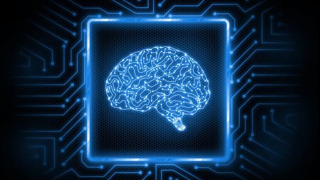 Placa de circuito brilhante azul com logotipo do cérebro no centro.