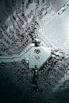 Placa de circuito componentes de hardware de computador eletrônico fundo de ciência digital da placa-mãe