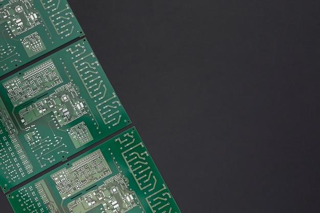 Placa de circuito de close-up com espaço de cópia