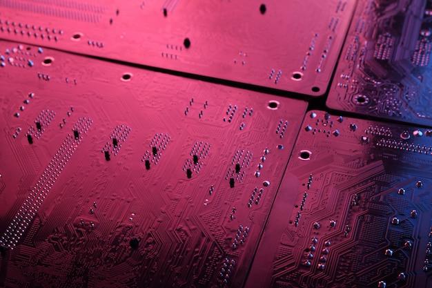 Placa de circuito eletrônico abstrata, linhas de placa-mãe de computador e componentes